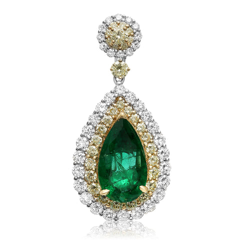 18k White Gold Emerald Earring (KE5745-1)