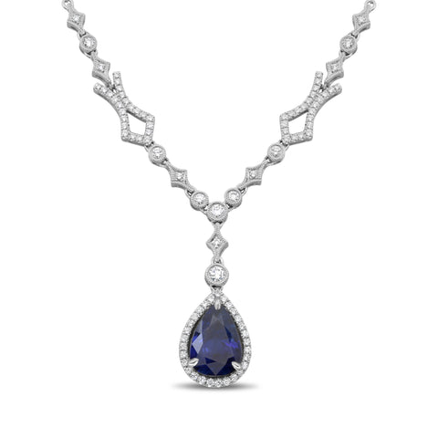 18k White Gold Sapphire Necklace (KN3041WSP-2)