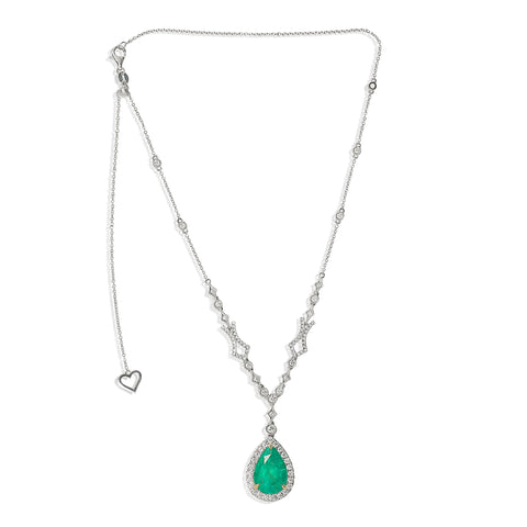 18k White Gold Emerald Necklace (KN3042WYEM-3)