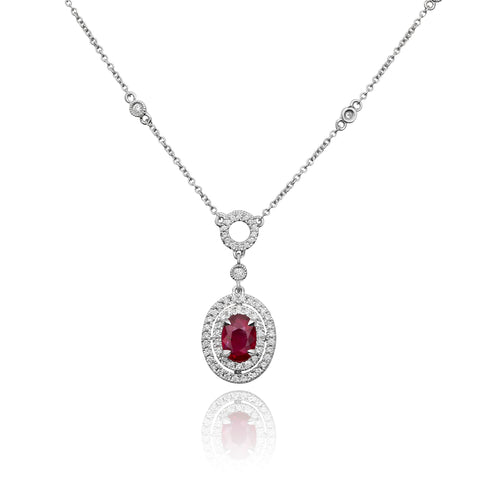 18k White Gold Ruby Necklace (KN4145-3)