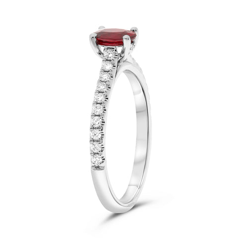 14k White Gold Ruby Ring (KR3562W-B-7)