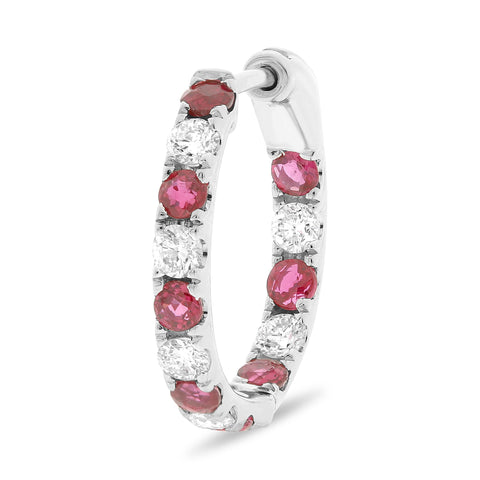 14k White Gold Ruby Earring (ME782-11)