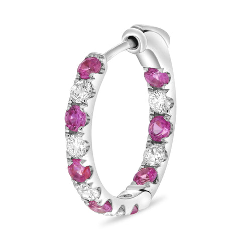 14k White Gold Pink Sapphire Earring (ME782-13)