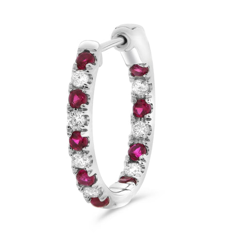 14k White Gold Ruby Earring (ME782-8)