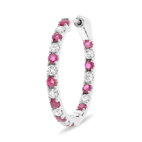 14k White Gold Ruby Earring (ME783-13)