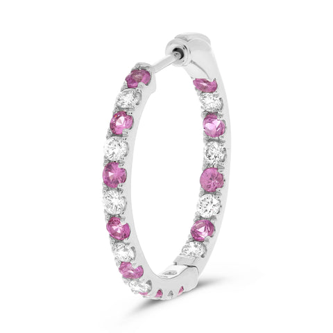 14k White Gold Pink Sapphire Earring (ME783-15)