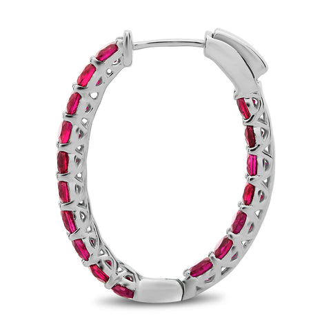 14k White Gold Ruby Earring (ME871-6)