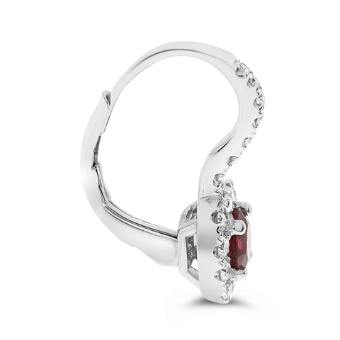 14k White Gold Ruby Earring (ME922-2)