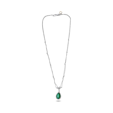 18k White Gold Emerald Necklace (MN536-2)