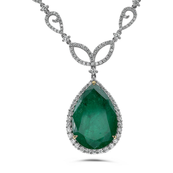 18k White Gold Emerald Necklace (MN542-1)