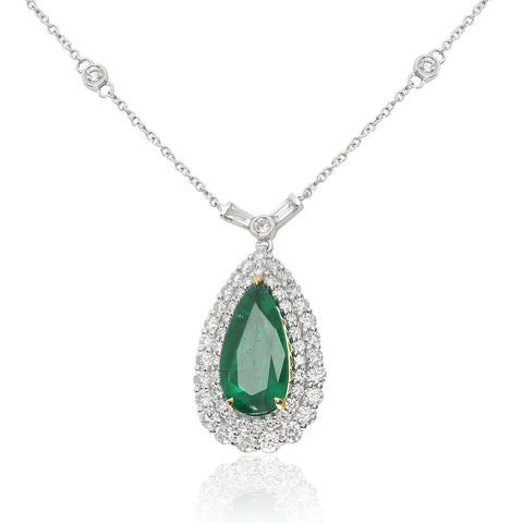 18k White Gold Emerald Necklace (MN584-20)