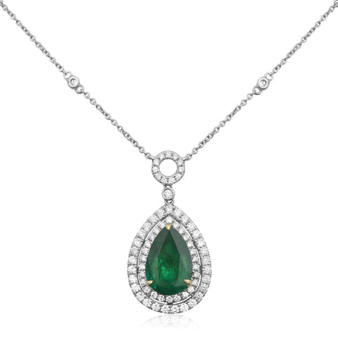 18k White Gold Emerald Necklace (MN606-14)
