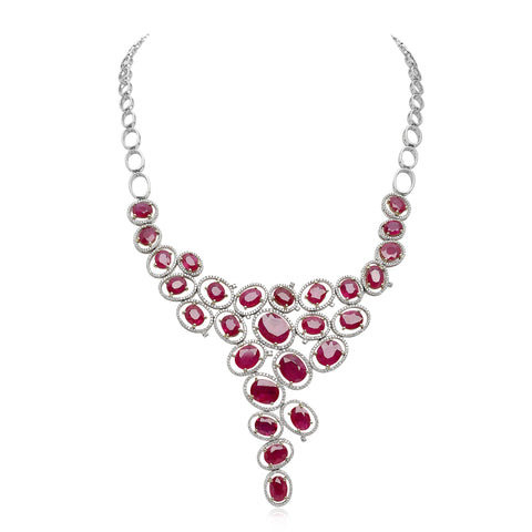 14k White Gold Ruby Necklace (MN607-1)