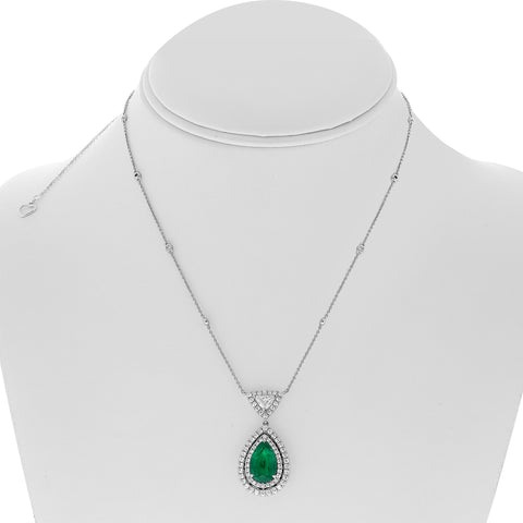 18k White Gold Emerald Necklace (MN633-11)