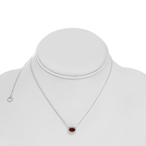 14k White Gold Garnet Necklace (MN807B-7)