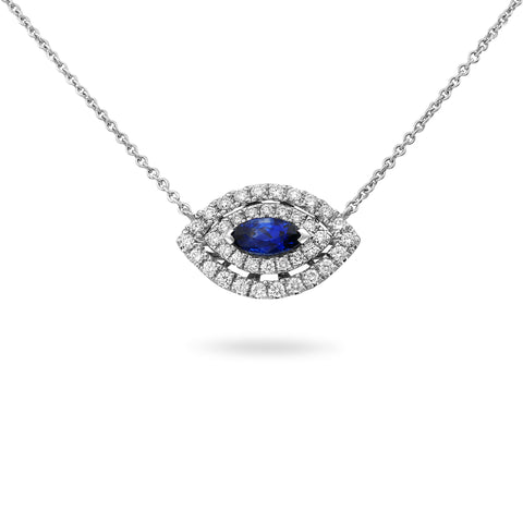 18k White Gold Sapphire Necklace (MN807D-8)