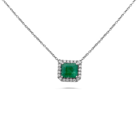 14k White Gold Emerald Necklace (MN807G-3)