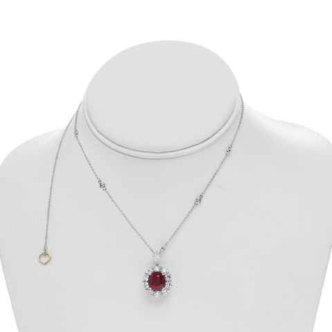 18k White Gold Ruby Necklace (MN895-1)