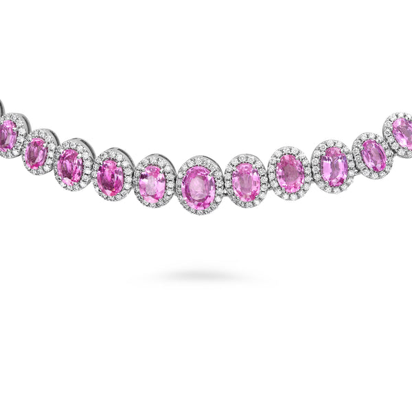 18k White Gold Pink Sapphire Necklace (MN897-1)