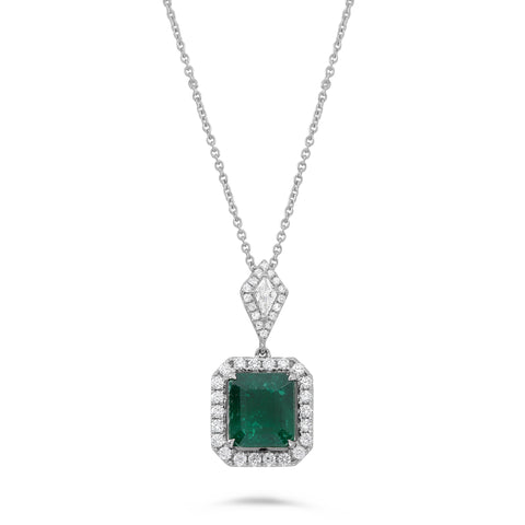 14k White Gold Emerald Necklace (MN900-3)