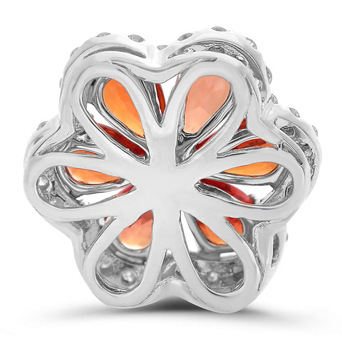 14k White Gold Orange Sapphire Pendant (MP710-1)
