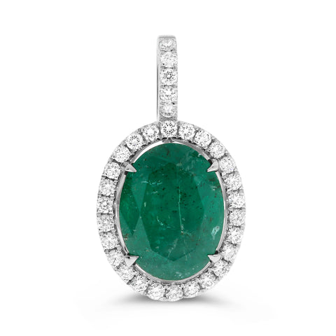 14k White Gold Emerald Pendant (MP881A-1)