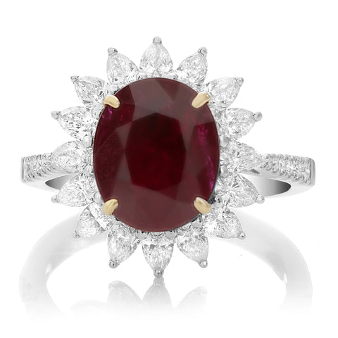 18k White Gold Ruby Ring (MR675-1)