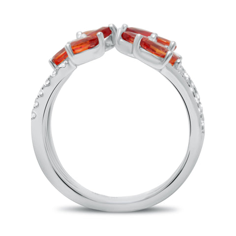 14k White Gold Orange Sapphire Ring (MR729-1)