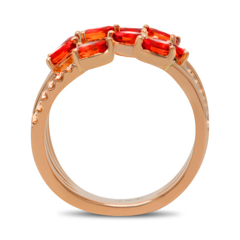 14k Rose Gold Orange Sapphire Ring (MR729-2)