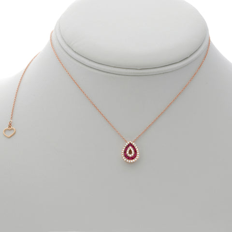 14k Rose Gold Ruby Necklace (NN1008-2)