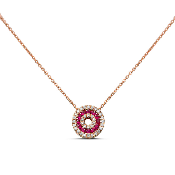 14k Rose Gold Ruby Necklace (NN1010-2)