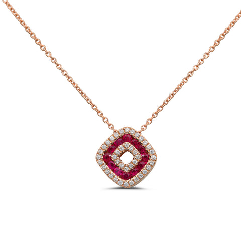 14k Rose Gold Ruby Necklace (NN1011A-2)