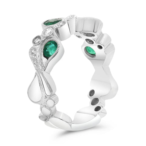 14k White Gold Emerald Ring (NR1051-3)