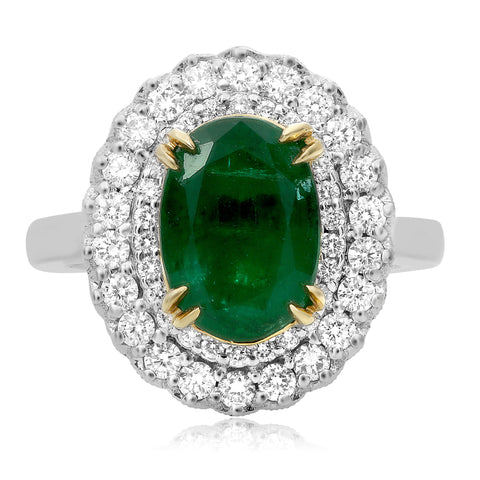 18k White Gold Emerald Ring (NR795-2)