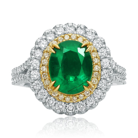18k White Gold Emerald Ring (NR807-2)