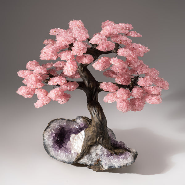 Custom Designed - Genuine Rose Quartz Clustered Gemstone Tree on Amethyst Matrix (The Love Tree)