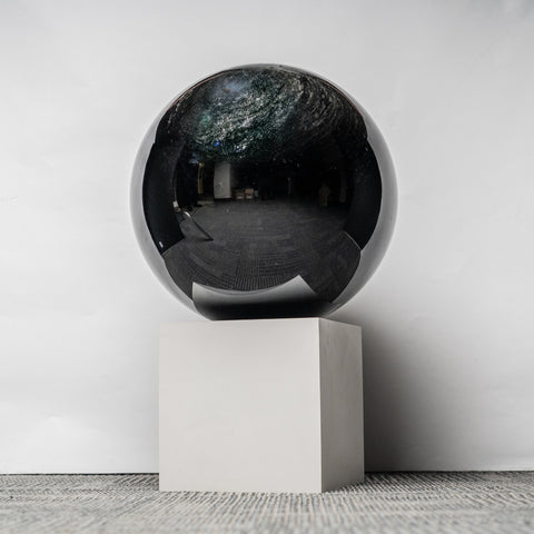 Massive Genuine Black Silver Sheen Obsidian Sphere (14'', 200 lbs)