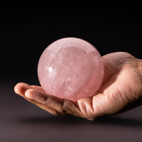 "Polished Rose Quartz Sphere from Madagascar (3"" Diameter, 2 lbs)"