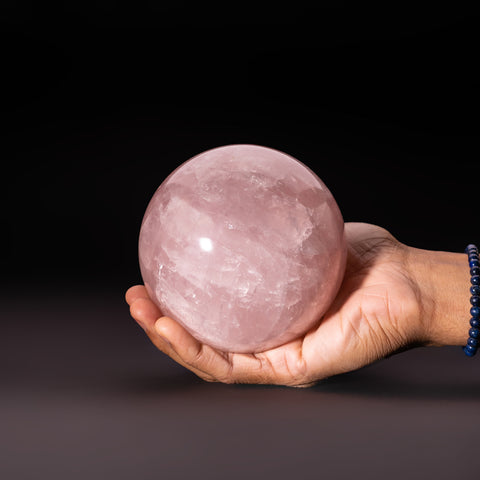 "Polished Rose Quartz Sphere from Madagascar (4.75"" Diameter, 4 lbs)"