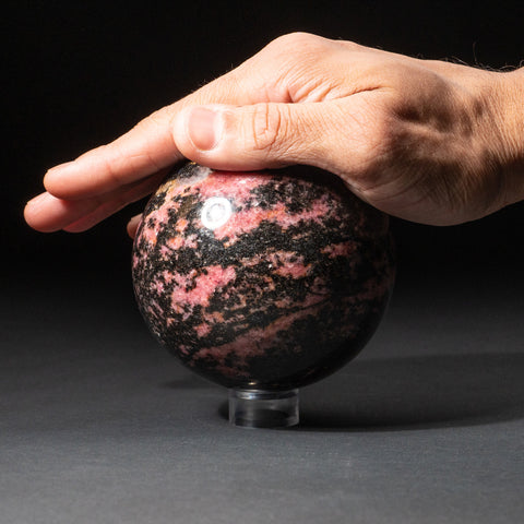 Polished Imperial Rhodonite Sphere from Madagascar (3.5'', 3.6 lbs)