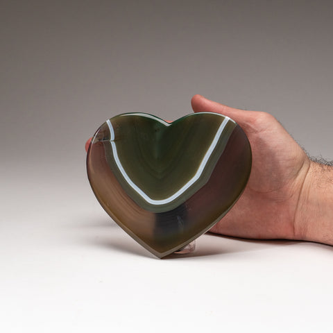 Polished Green Agate Heart from Brazil (276.8 grams)