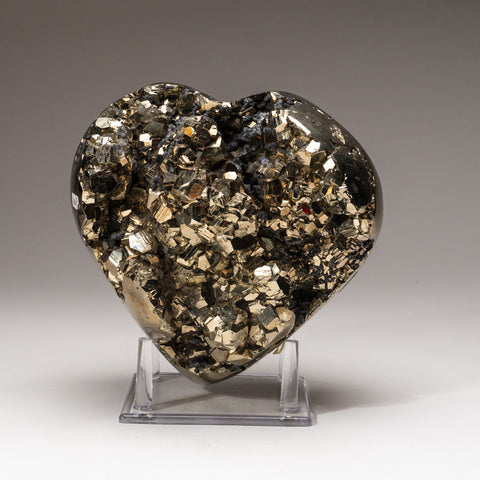 Large Polished Pyrite Heart On Acrylic Display Stand (15.6 lbs)