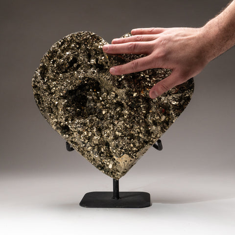 Large Polished Pyrite Heart On Metal Stand (41 lbs)