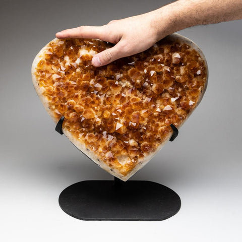 Citrine Cluster Heart on Custom Metal Stand from Uruguay (17.4 lbs)