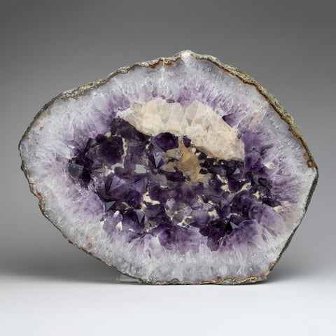 Amethyst Geode Slice with Calcite From Brazil (22.5 pounds)