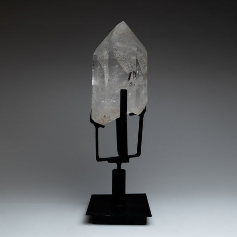 Polished Quartz Crystal on Metal Stand from Brazil (8.5 lbs)