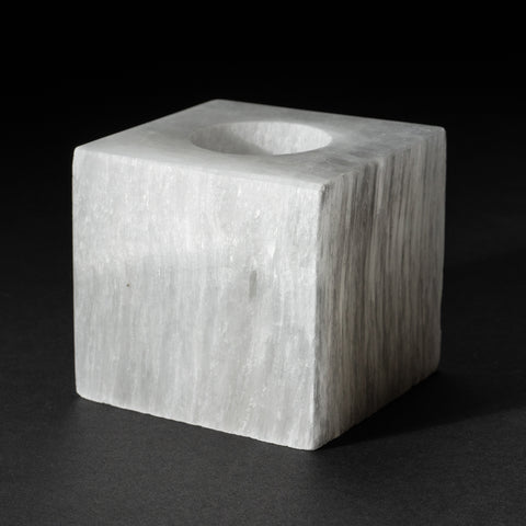 Genuine Cats Eye Selenite Candle Holder (1.7 lbs)