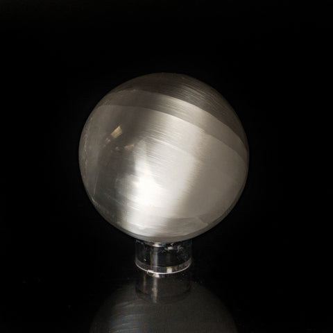 Genuine Natural Cats Eye Selenite Sphere - Medium (3.5'', 3.2 lbs)