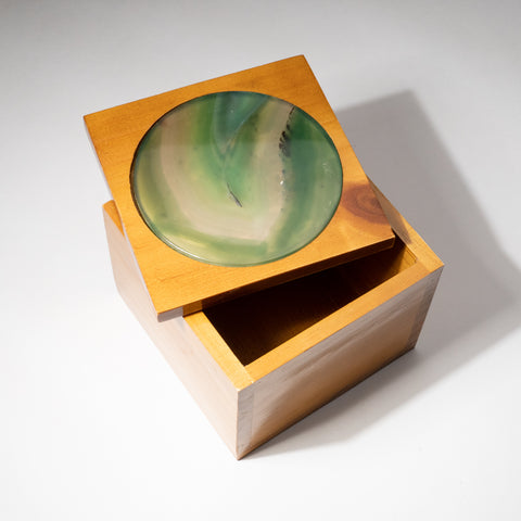 Genuine Green Agate Inlay Wooden Jewelry Box