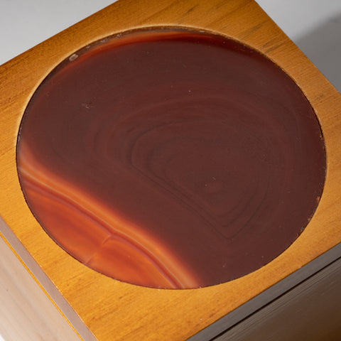 Genuine Red Agate Inlay Wooden Jewelry Box